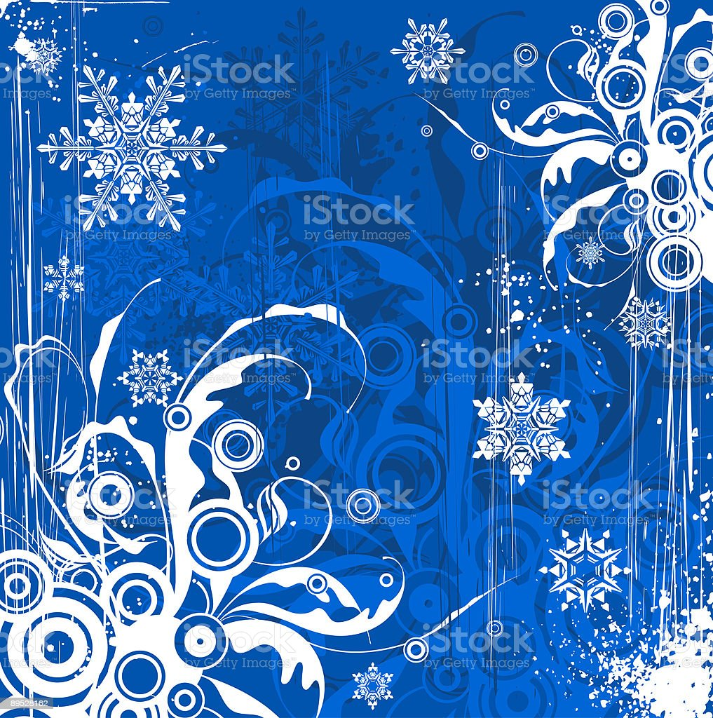blue flowers background & snowflakes royalty-free stock vector art