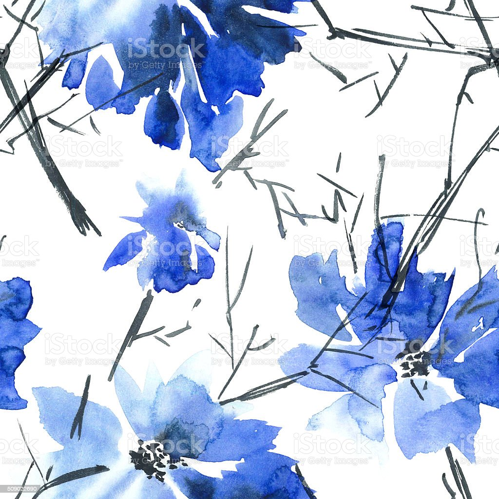 Blue flowers pattern vector art illustration