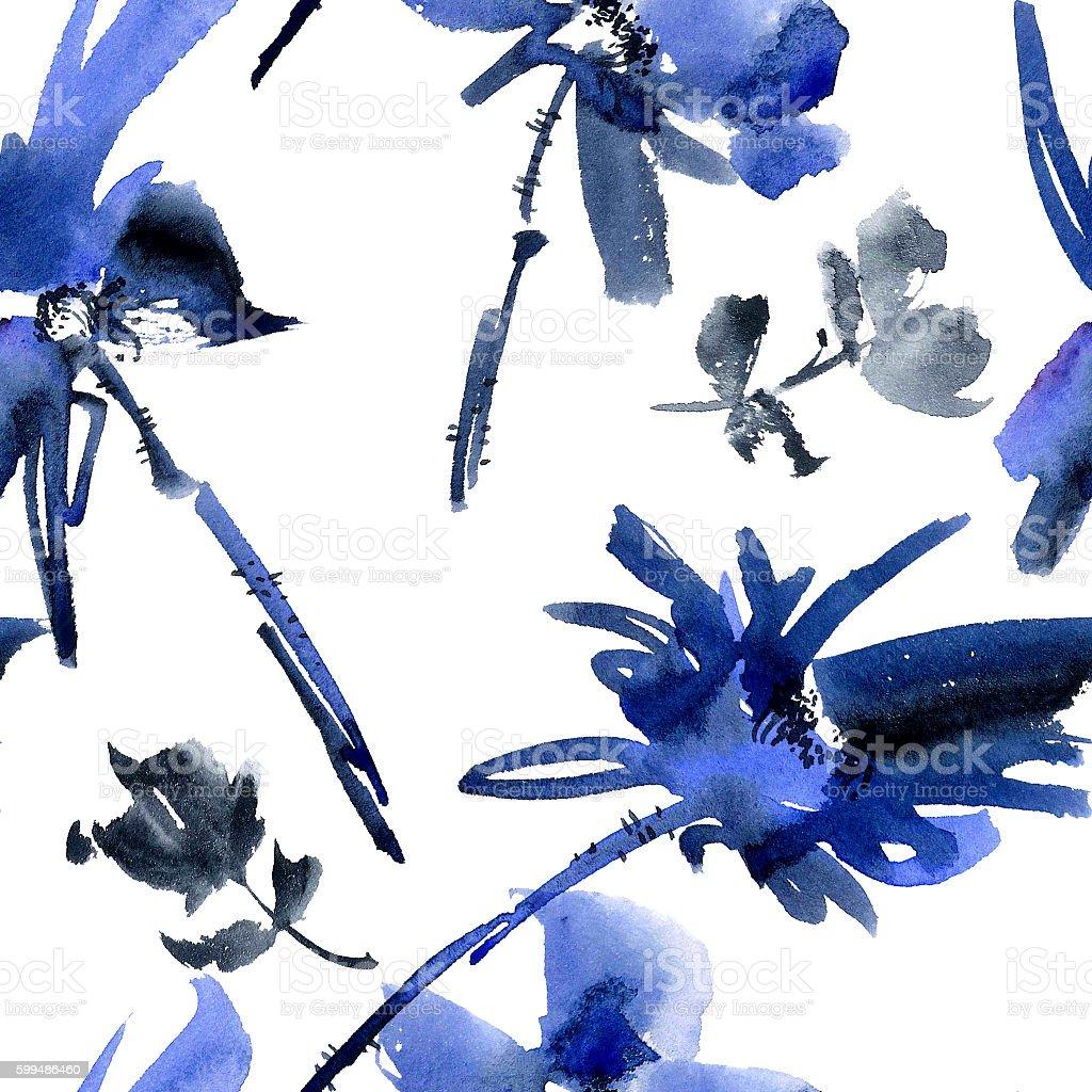 Blue flowers seamless pattern vector art illustration