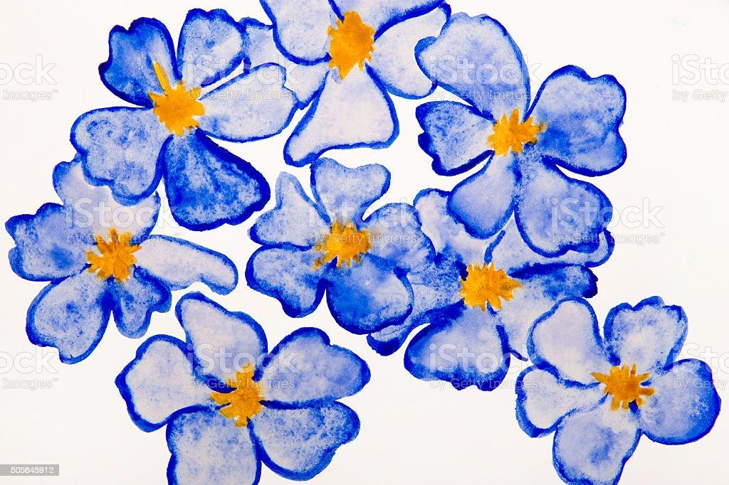 blue flowers water color vector art illustration