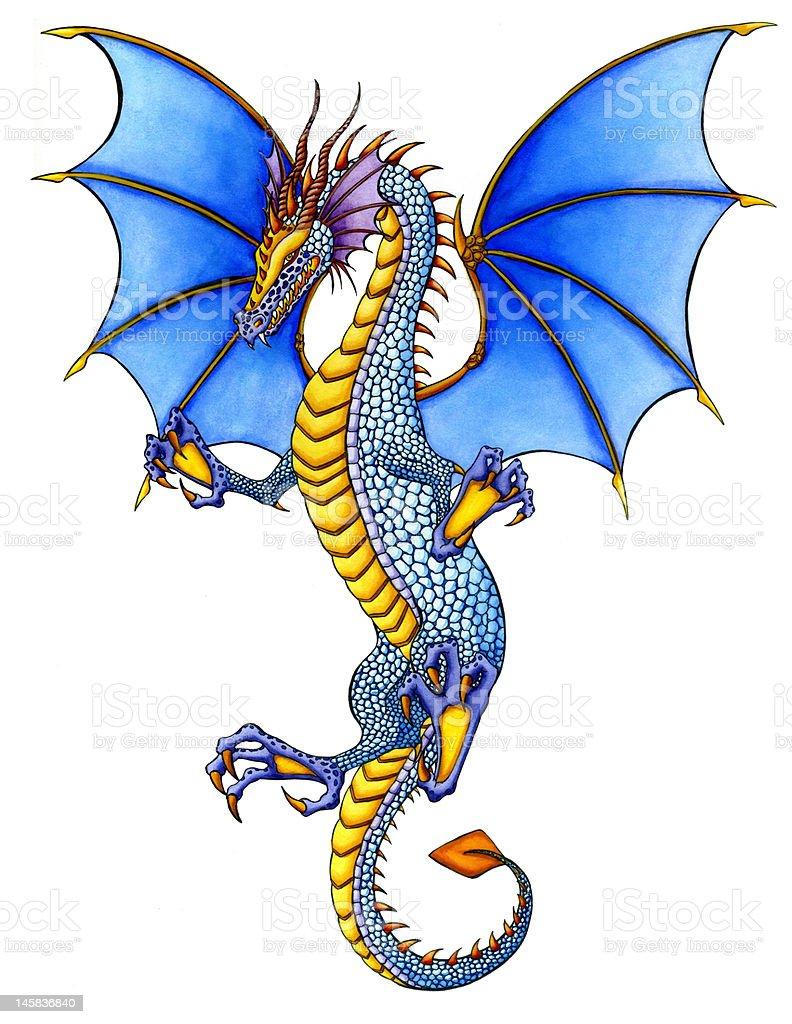 Blue flying Dragon vector art illustration
