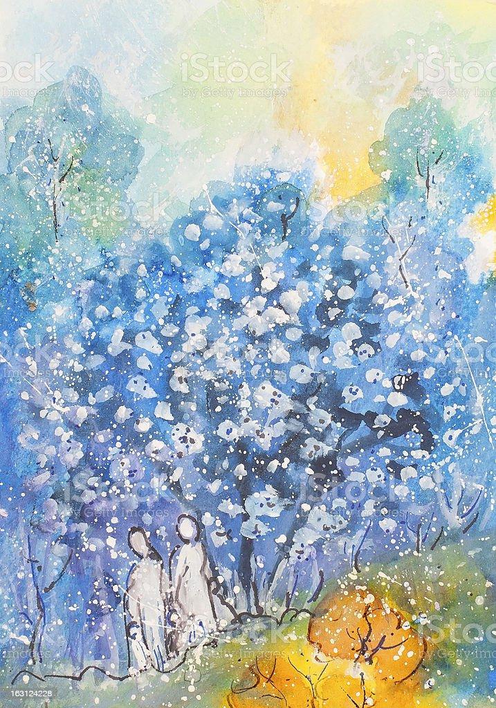 Azul bosque a pie illustracion libre de derechos libre de derechos