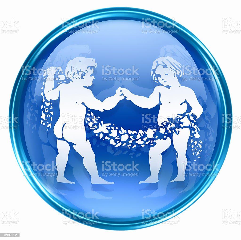 Blue Gemini zodiac icon on white backdrop royalty-free stock vector art