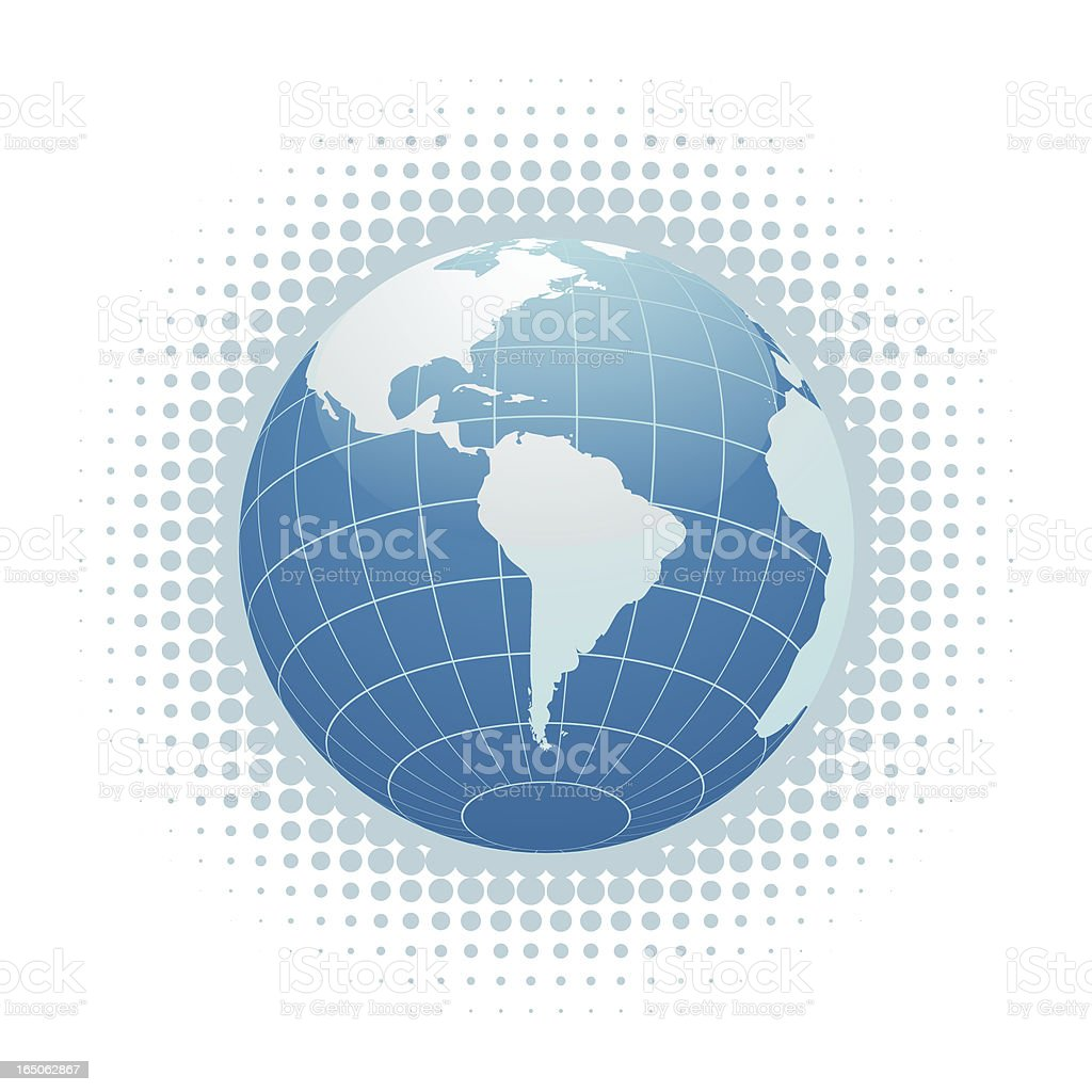 Blue Globe - South America vector art illustration