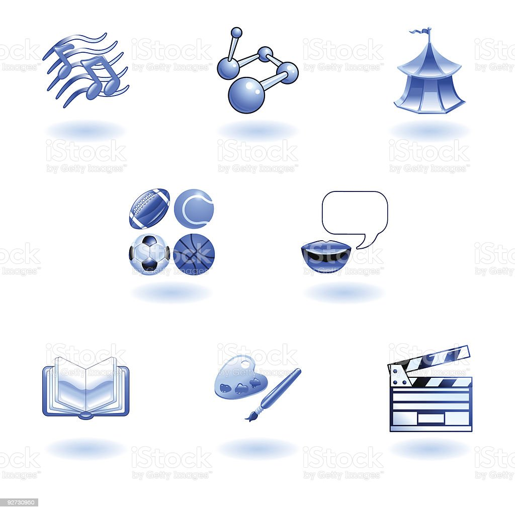 Blue glossy category education web icons royalty-free stock vector art
