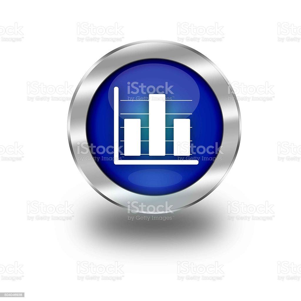 Blue Glossy Graph Web Button vector art illustration