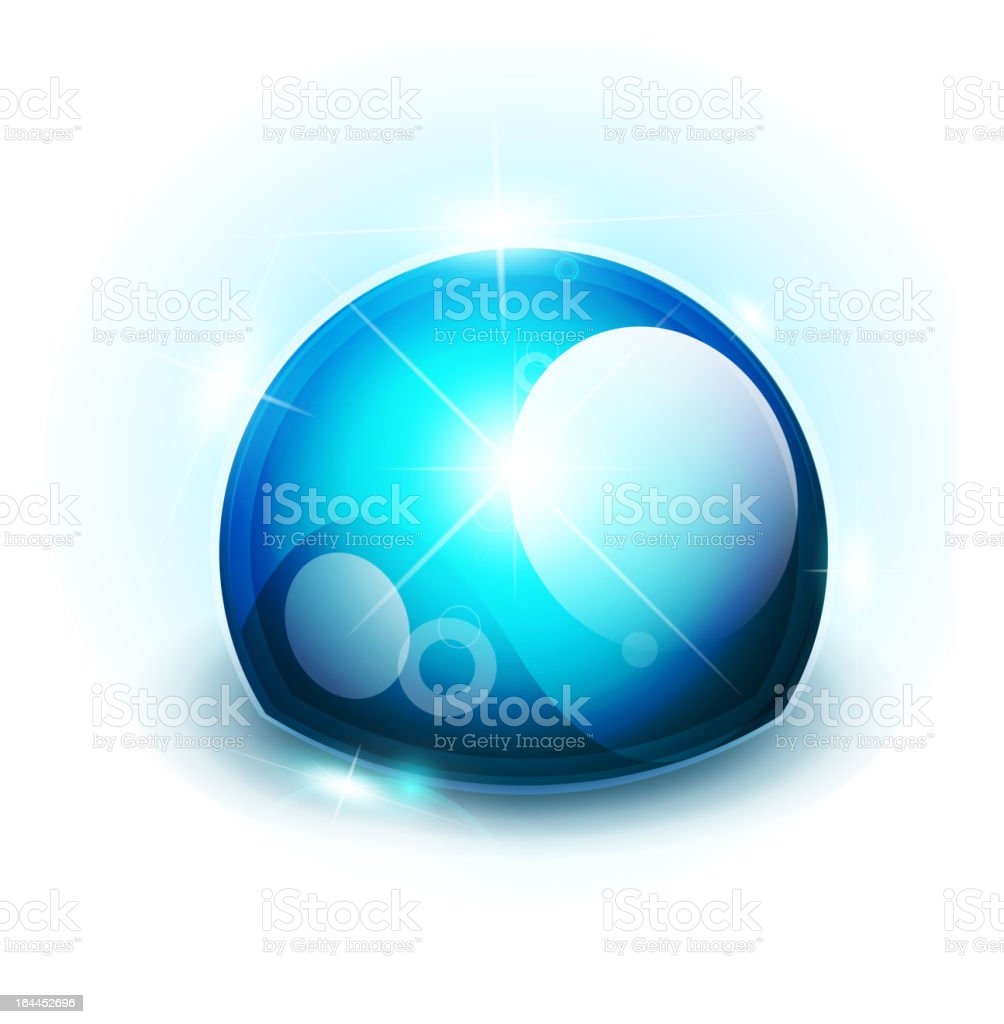 Blue glossy hemisphere royalty-free stock vector art