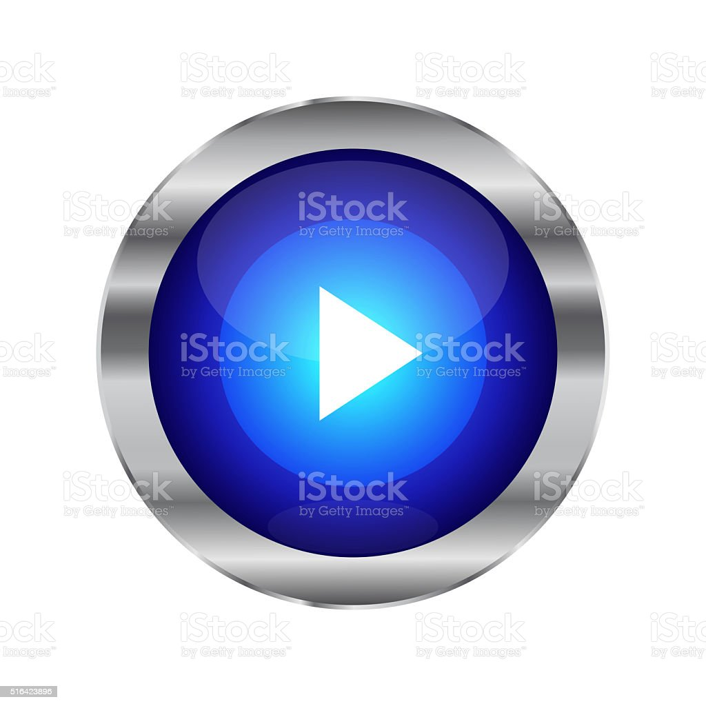 Blue Glossy Play Button Isolated On White stock photo