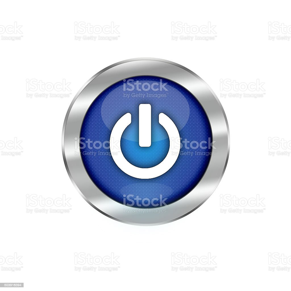 Blue Glossy Power Button Isolated On White vector art illustration