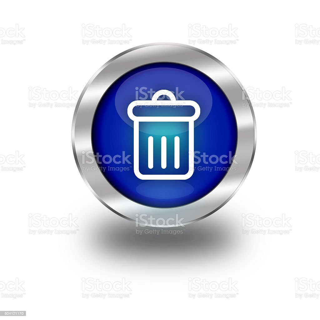 Blue Glossy Recycle Bin Web Button vector art illustration