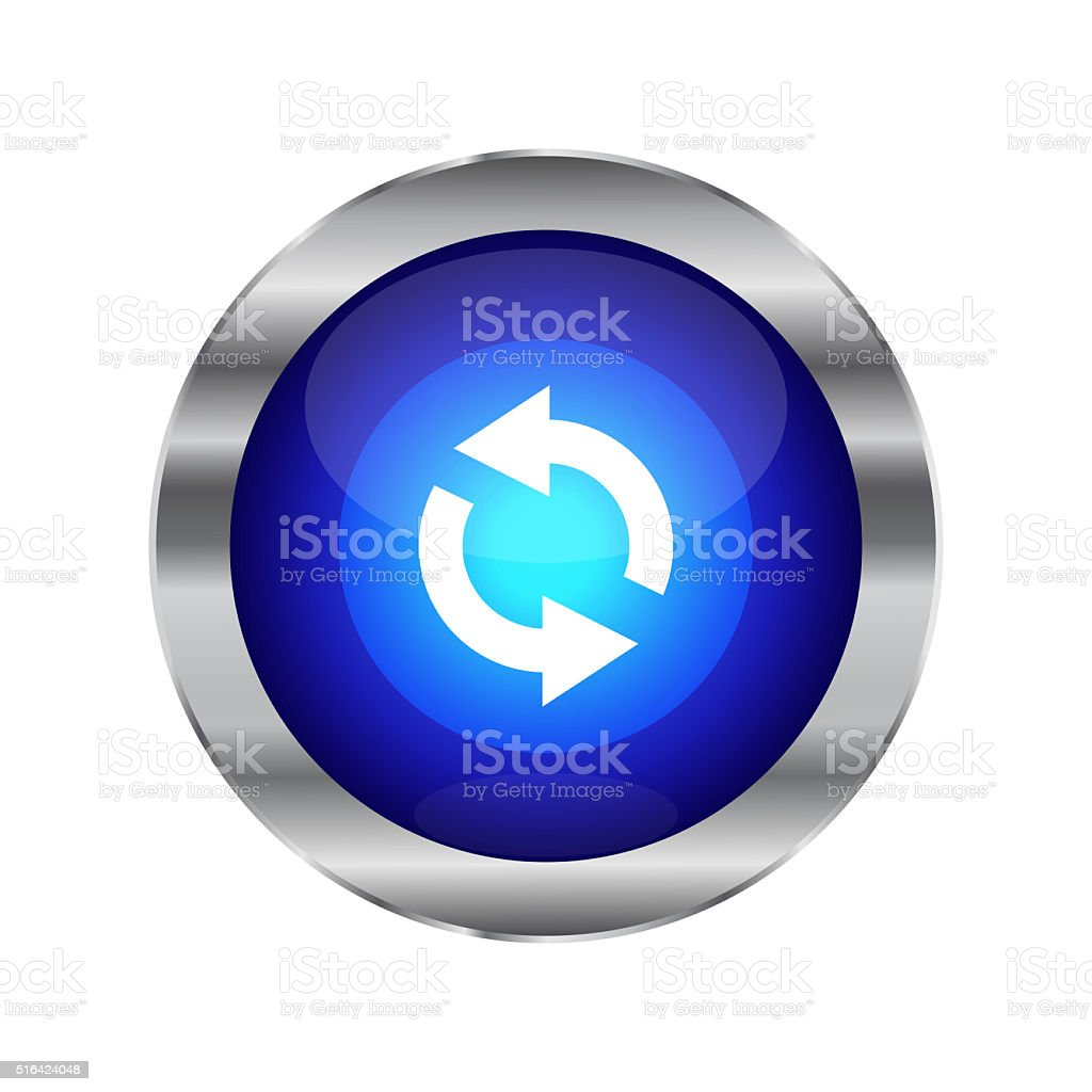 Blue Glossy Refresh/Reload Web Button stock photo