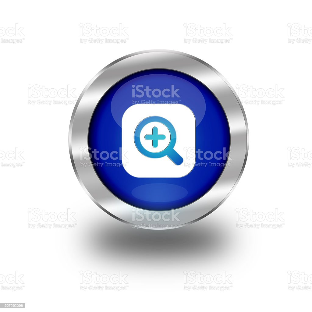 Blue Glossy Zoom In Web Button vector art illustration
