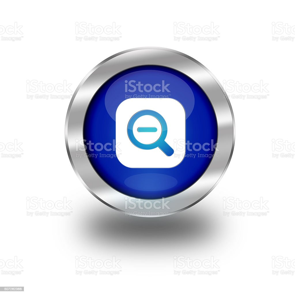 Blue Glossy Zoom Out Web Button vector art illustration