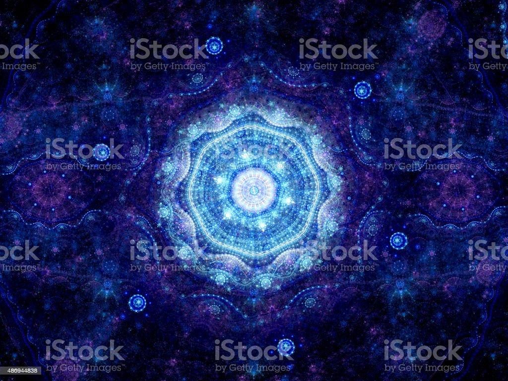 Blue glowing oriental mandala vector art illustration