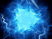 Blue glowing triangle plasma field in space