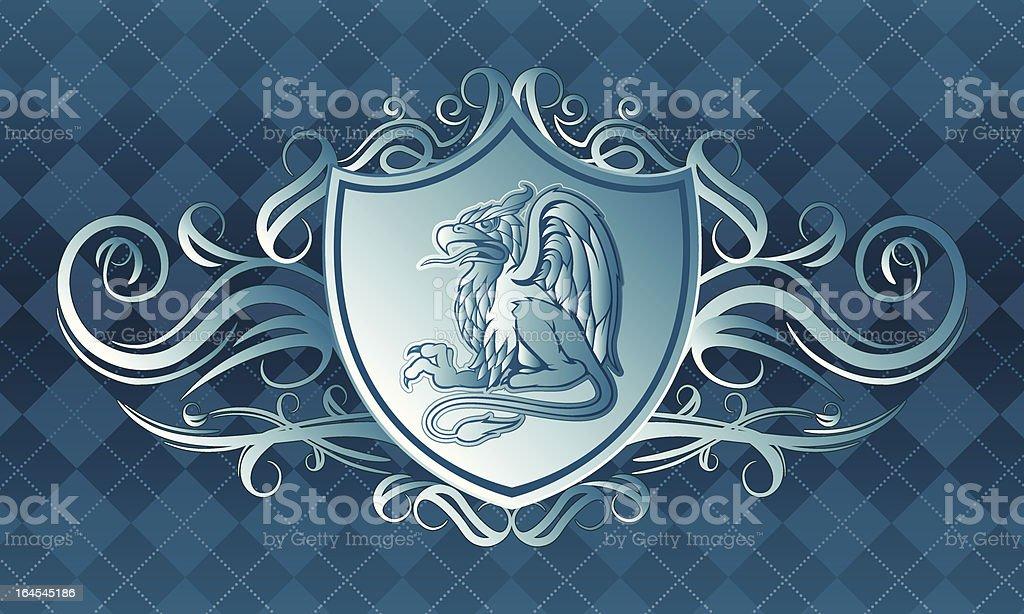 Blue Gryphon Crest vector art illustration
