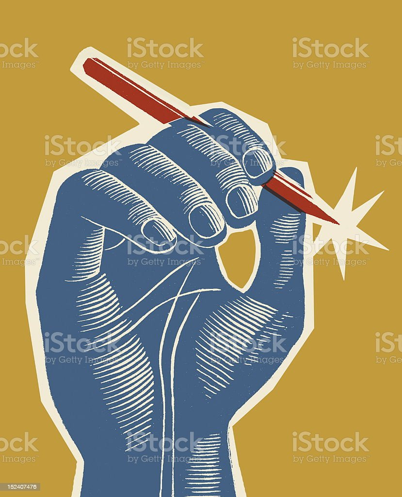 Blue Hand Holding Red Pen vector art illustration