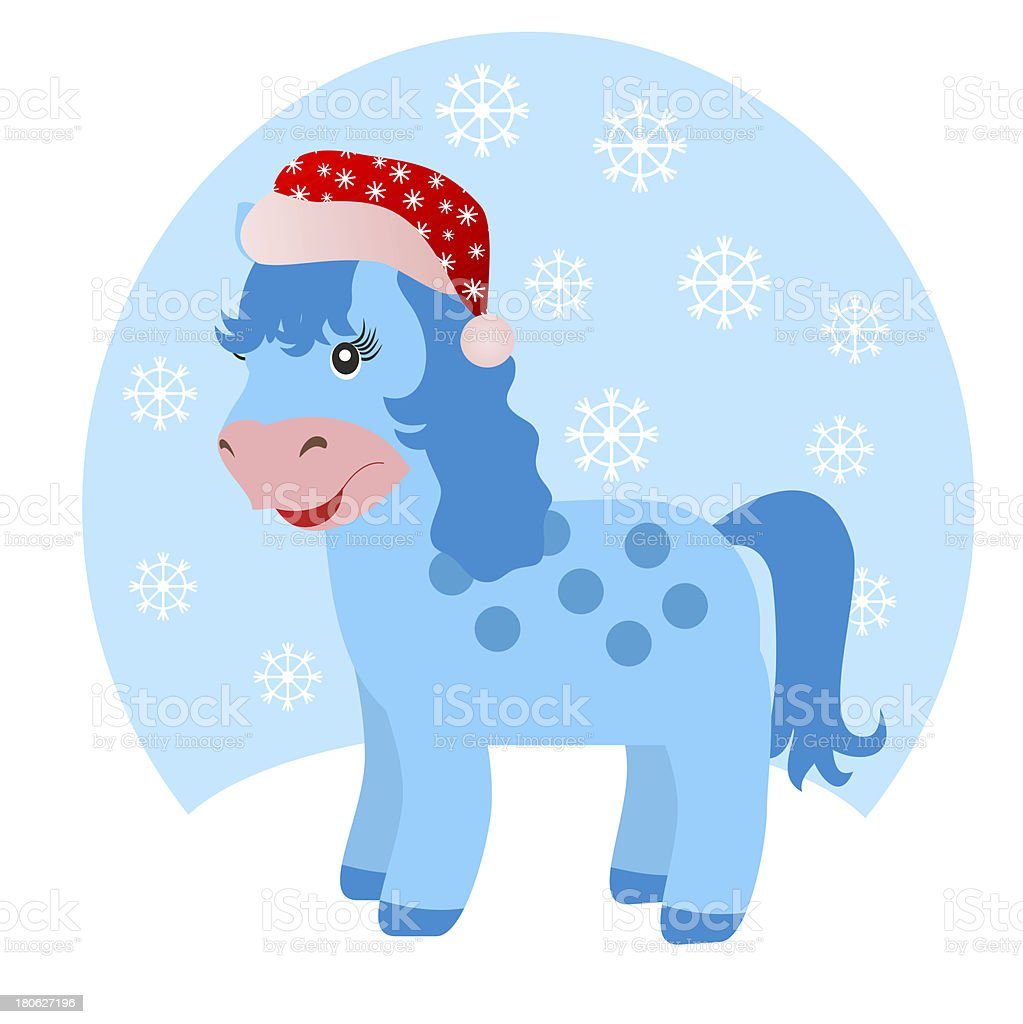 blue horse in winter royalty-free stock vector art