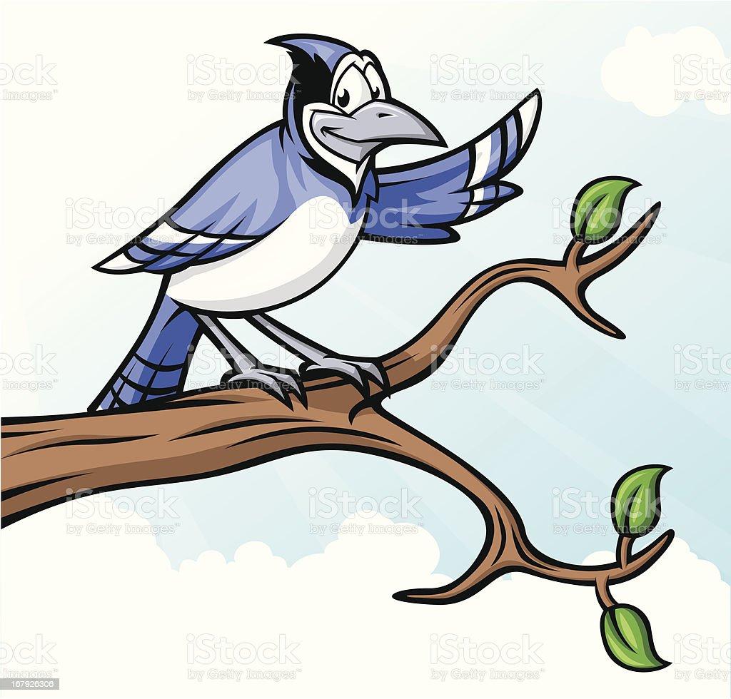 Blue Jay on Branch vector art illustration
