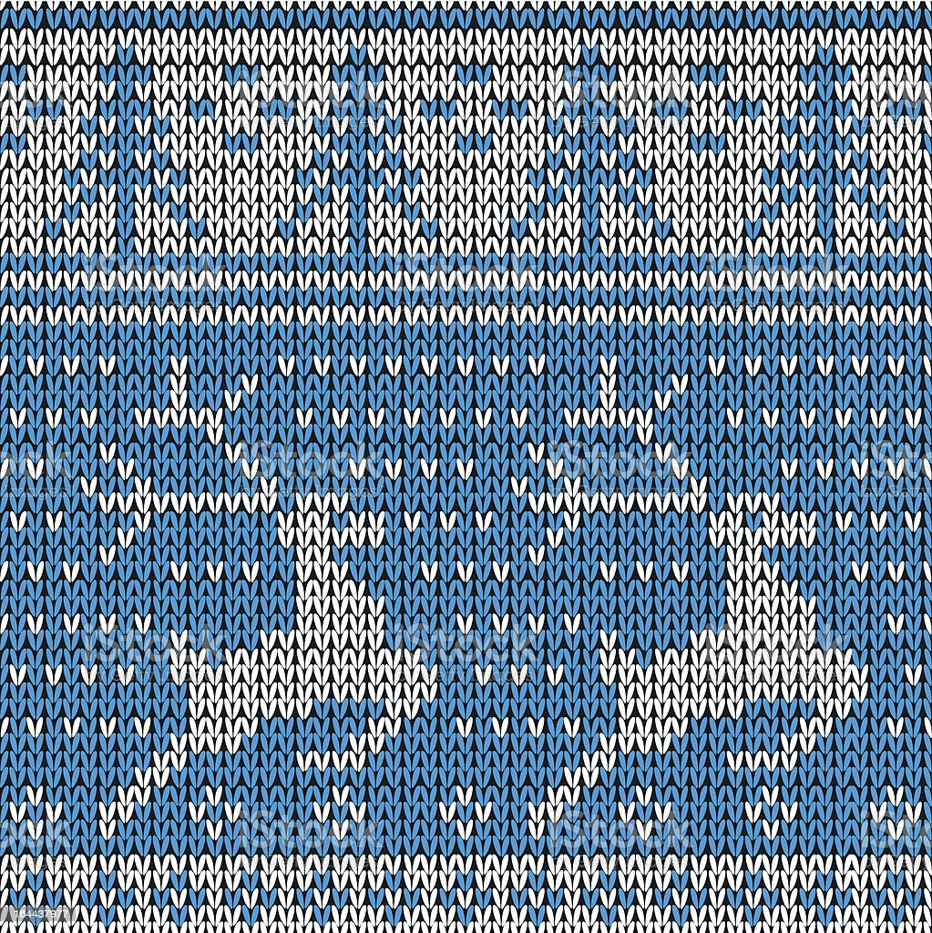 Blue knitted background with the deer. Vector illustration. royalty-free stock vector art