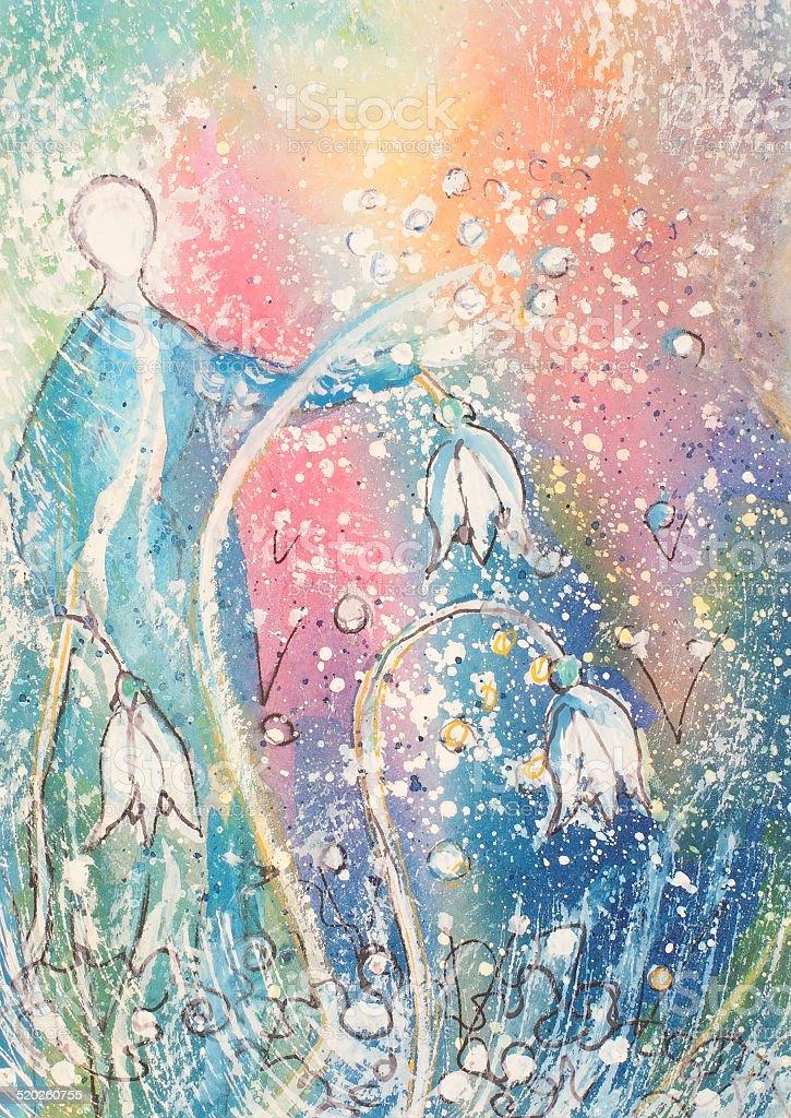Lady con Snowdrops azul illustracion libre de derechos libre de derechos
