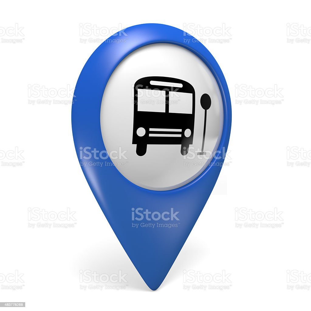 Blue map pointer 3D icon with a bus symbol vector art illustration