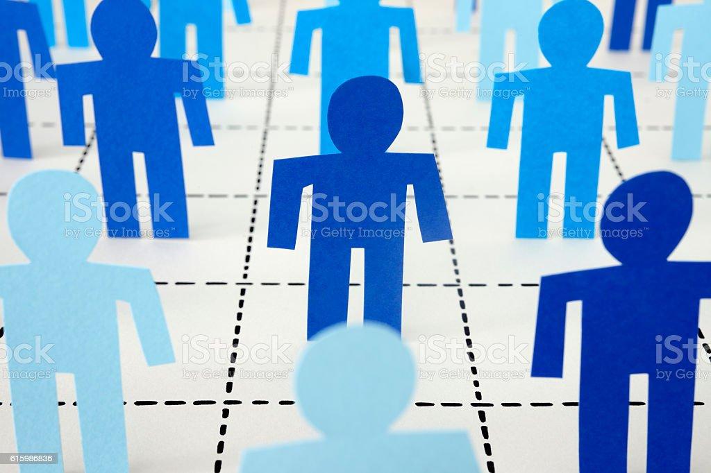 Blue men standing on dotted line mesh vector art illustration