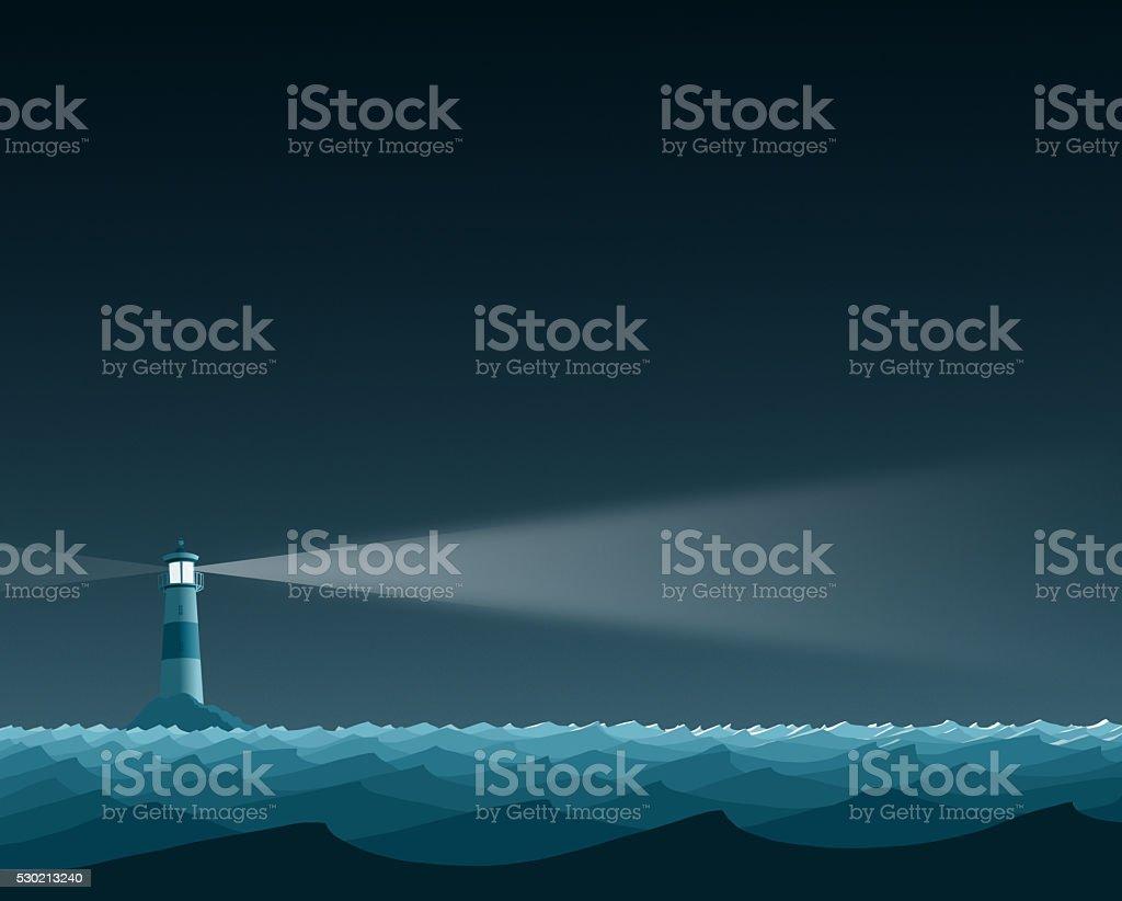 Blue Ocean Lighthouse Flat Landscape vector art illustration