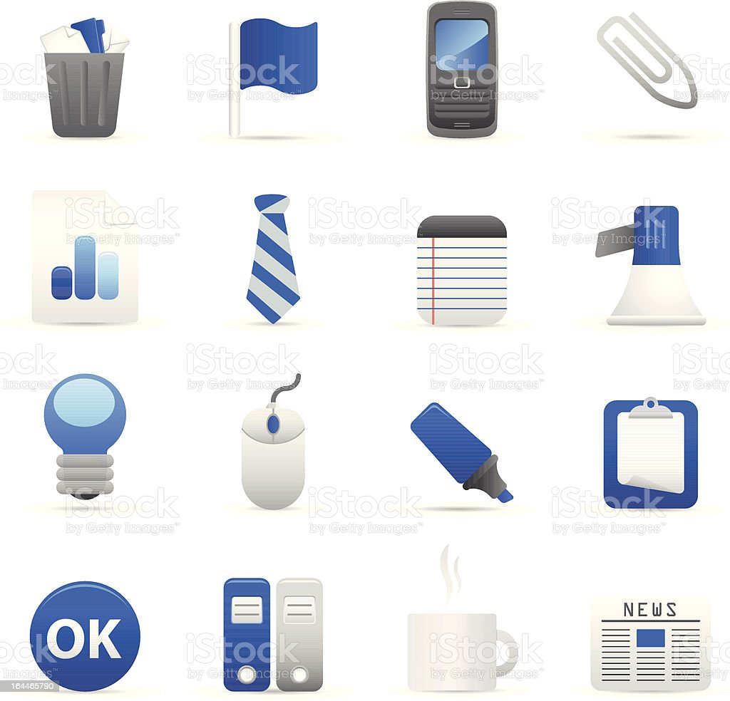 Blue Biuro ikony II stockowa ilustracja wektorowa royalty-free
