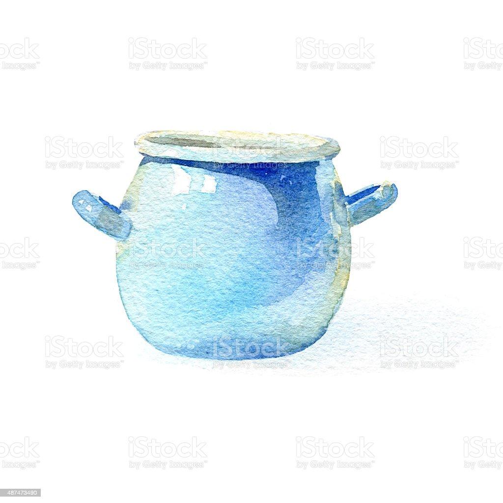 Blue pot vector art illustration