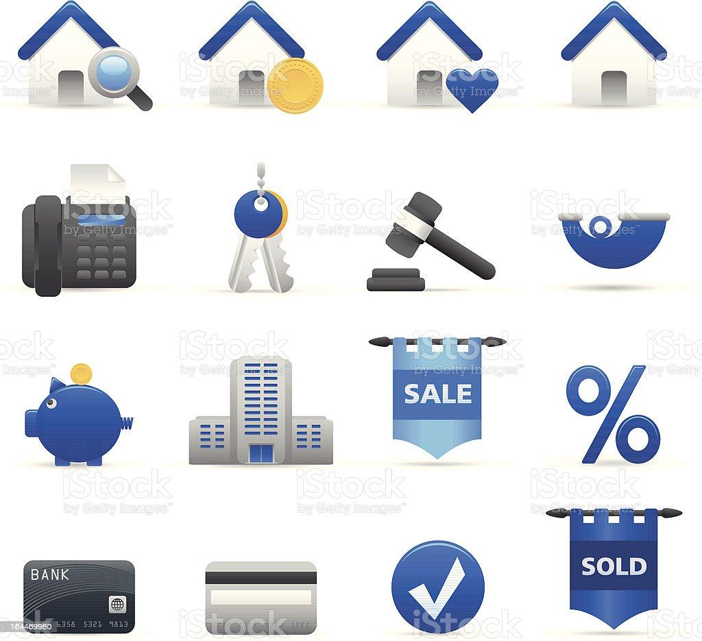 Niebieskie Ikony nieruchomości stockowa ilustracja wektorowa royalty-free