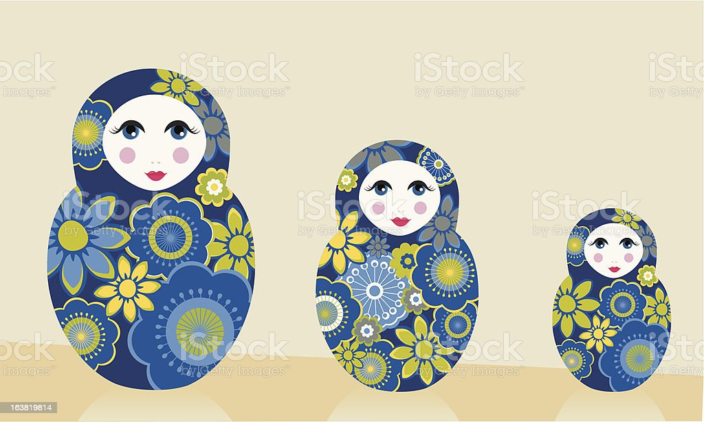 Blue Russian Dolls royalty-free stock vector art