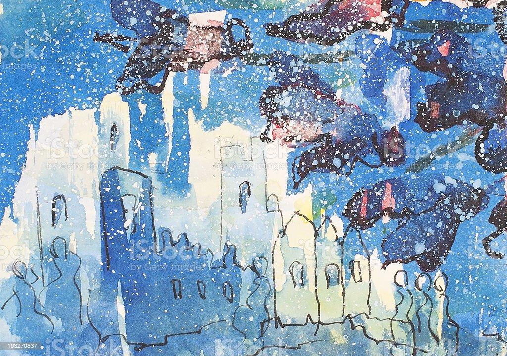 Escena azul illustracion libre de derechos libre de derechos