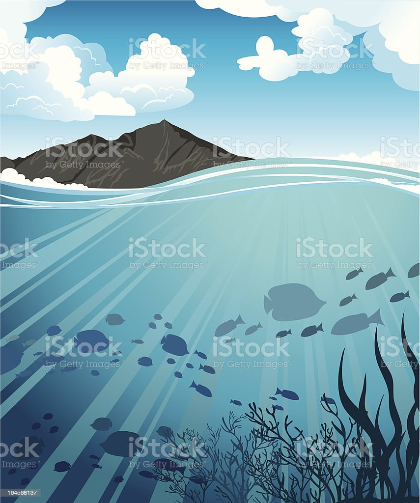 Blue sea and mountains royalty-free stock vector art
