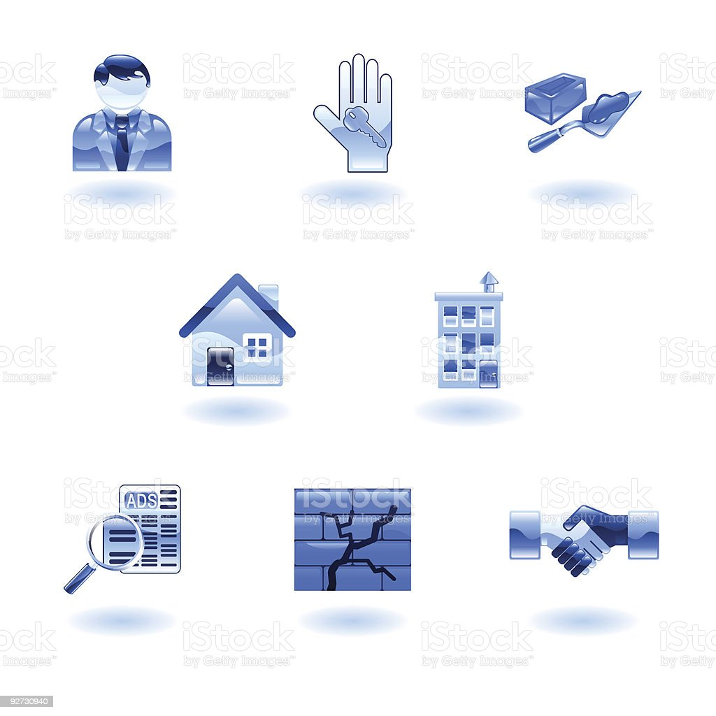 Blue Shiny Real Estate Icons royalty-free stock vector art