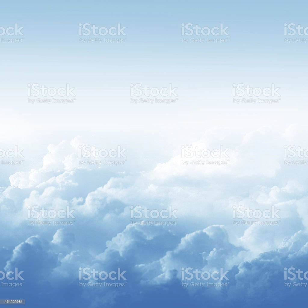 Blue sky and clouds vector art illustration