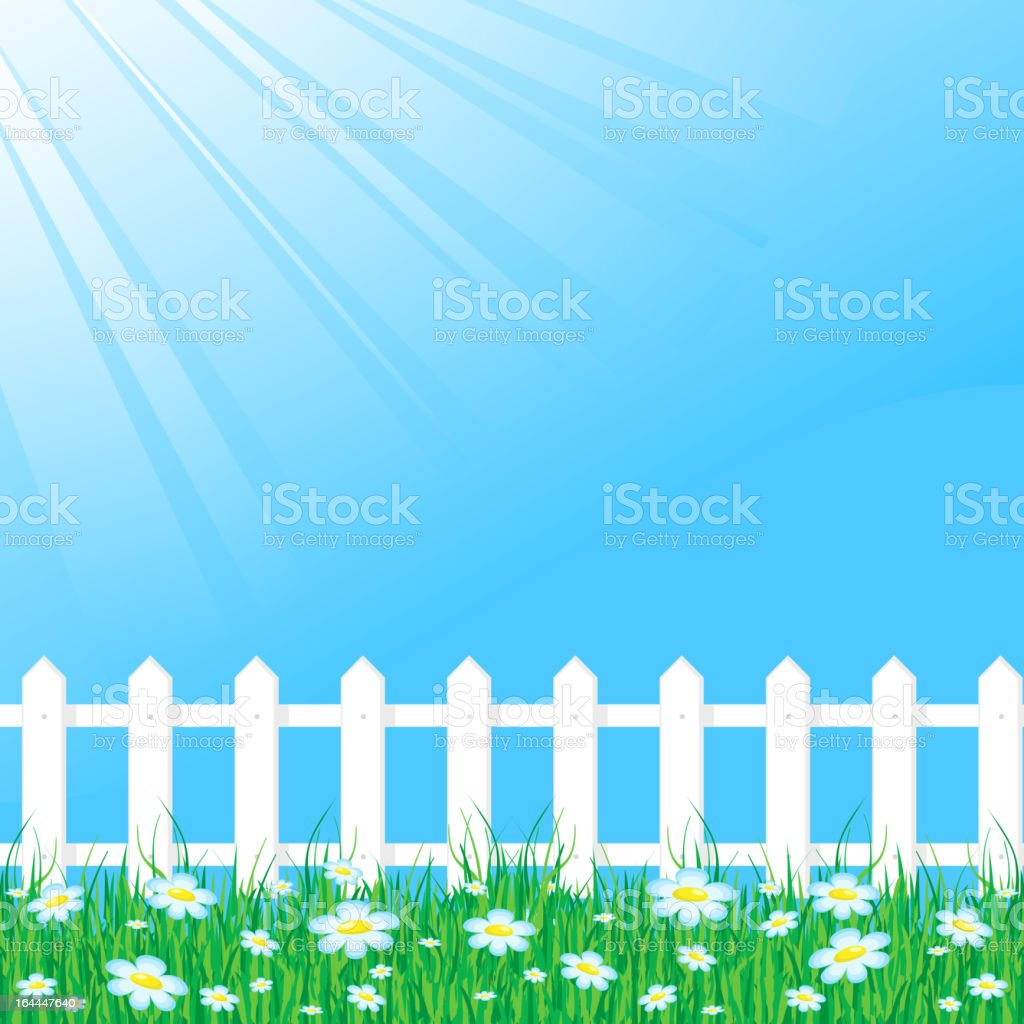 Blue sky with white fence vector art illustration