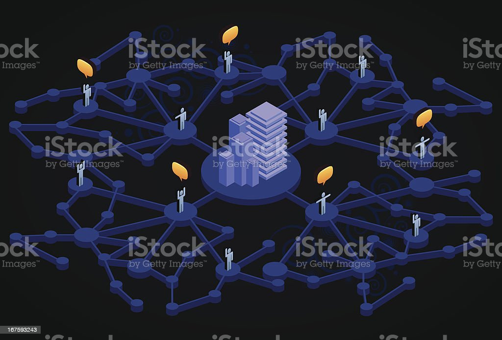 Blue social network with city vector art illustration