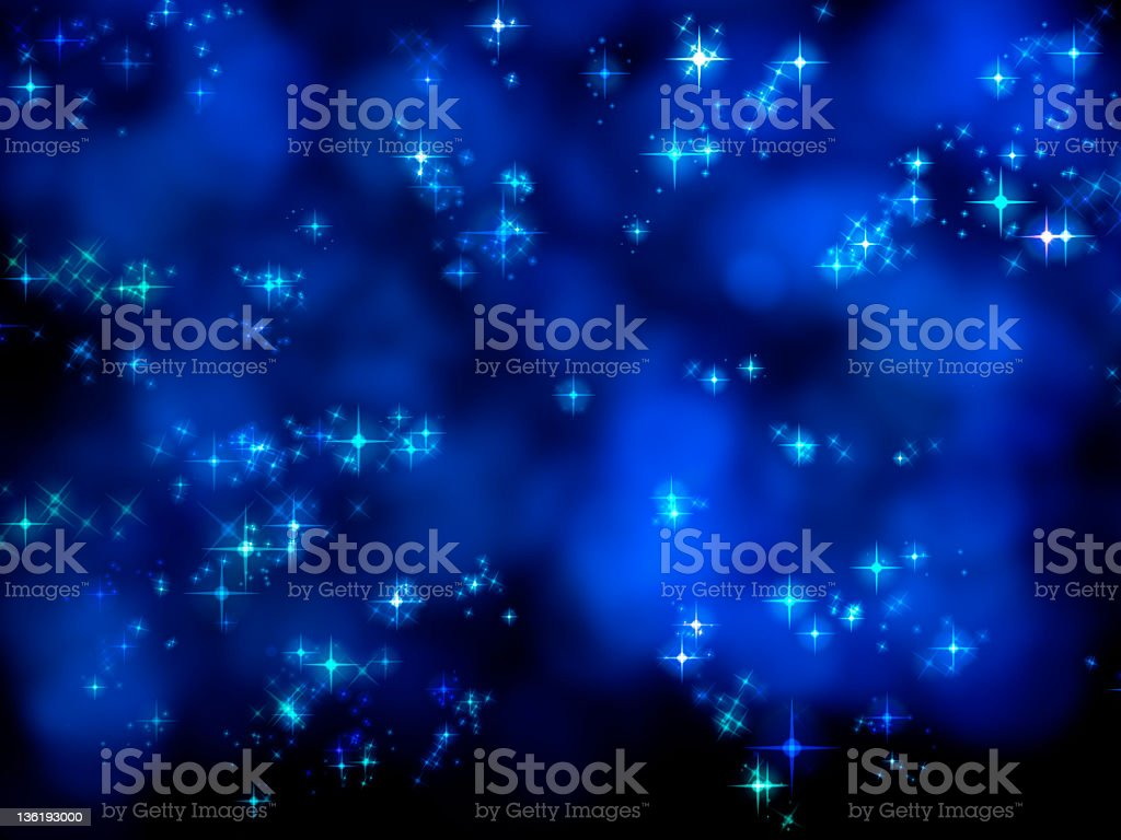 Blue stars at night (XXXL) vector art illustration