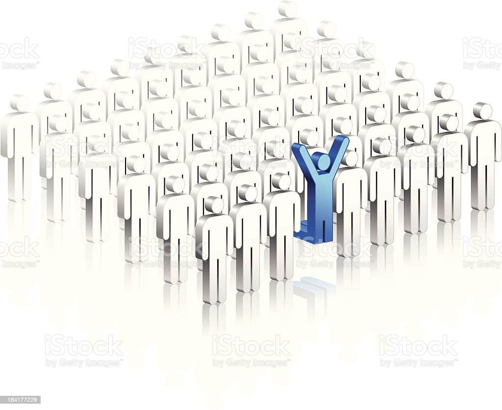 blue stick figure jumping up out of group vector art illustration