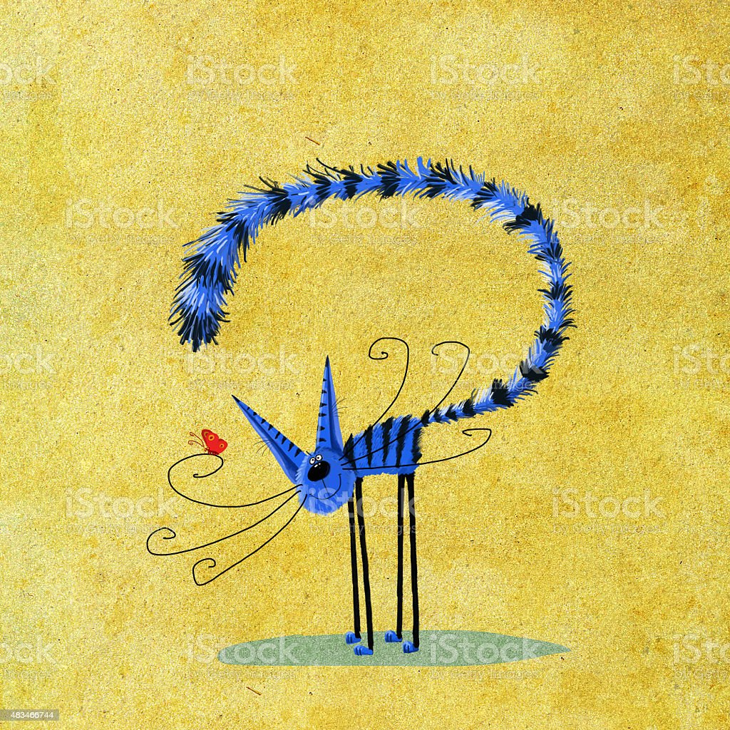 Blue Striped Kitten with Red Butterfly vector art illustration
