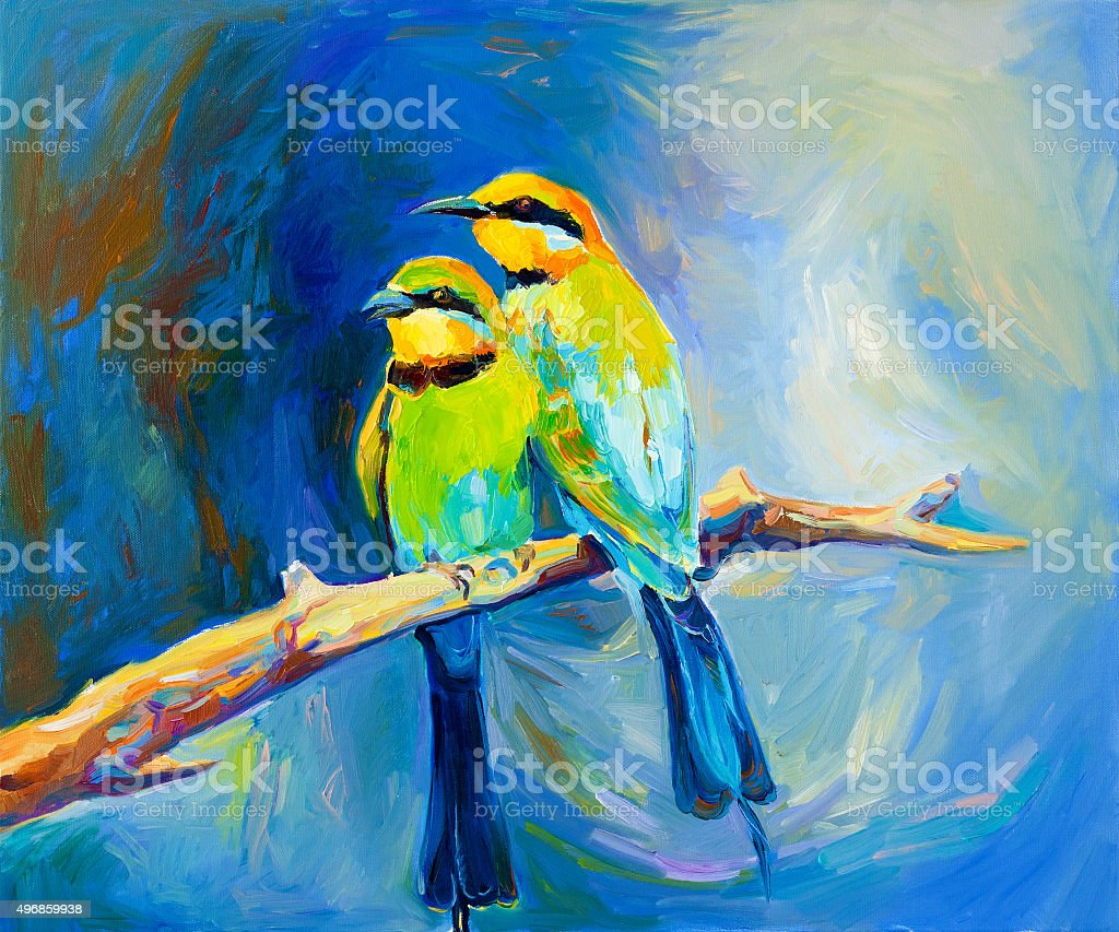blue tailed bee eaters vector art illustration