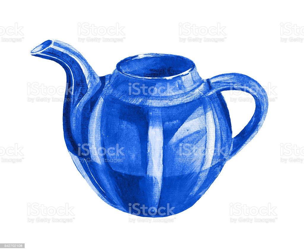 Blue teapot on white background vector art illustration