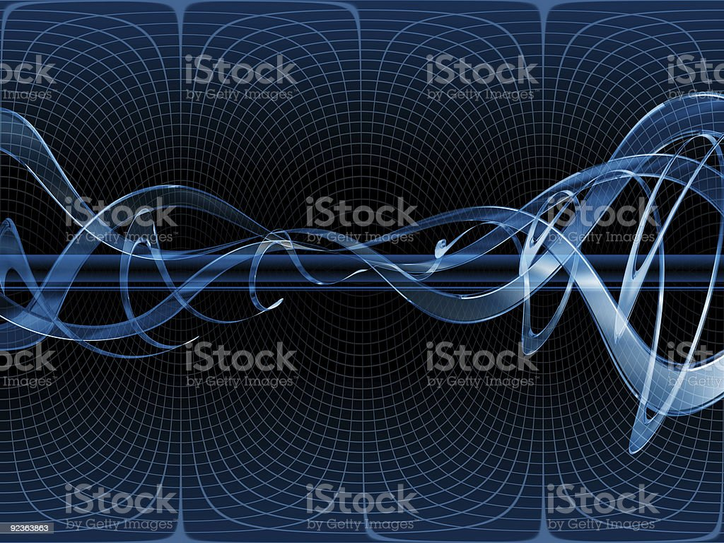 Blue Technical Background - Warped Glass Waves royalty-free stock vector art