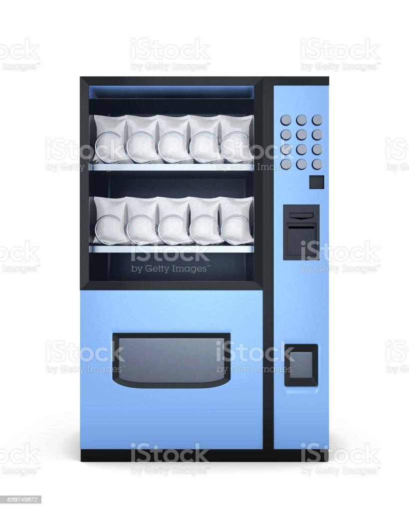 Blue vending machines on white background. 3d rendering vector art illustration
