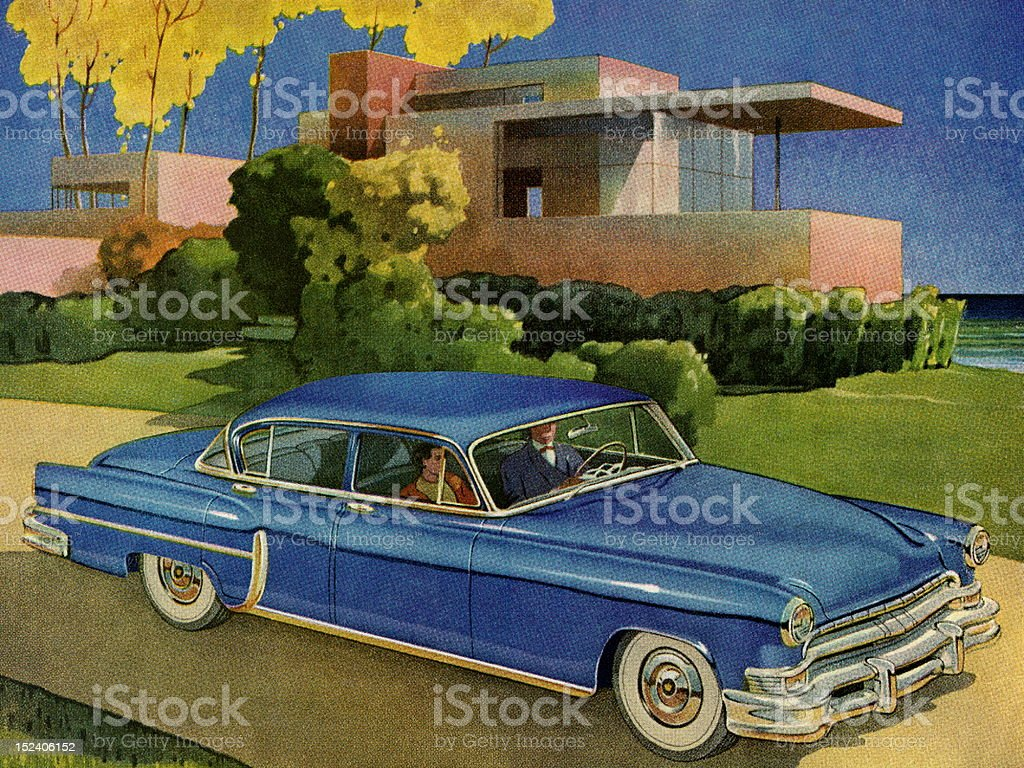 Blue Vintage Car Infront of House royalty-free stock vector art