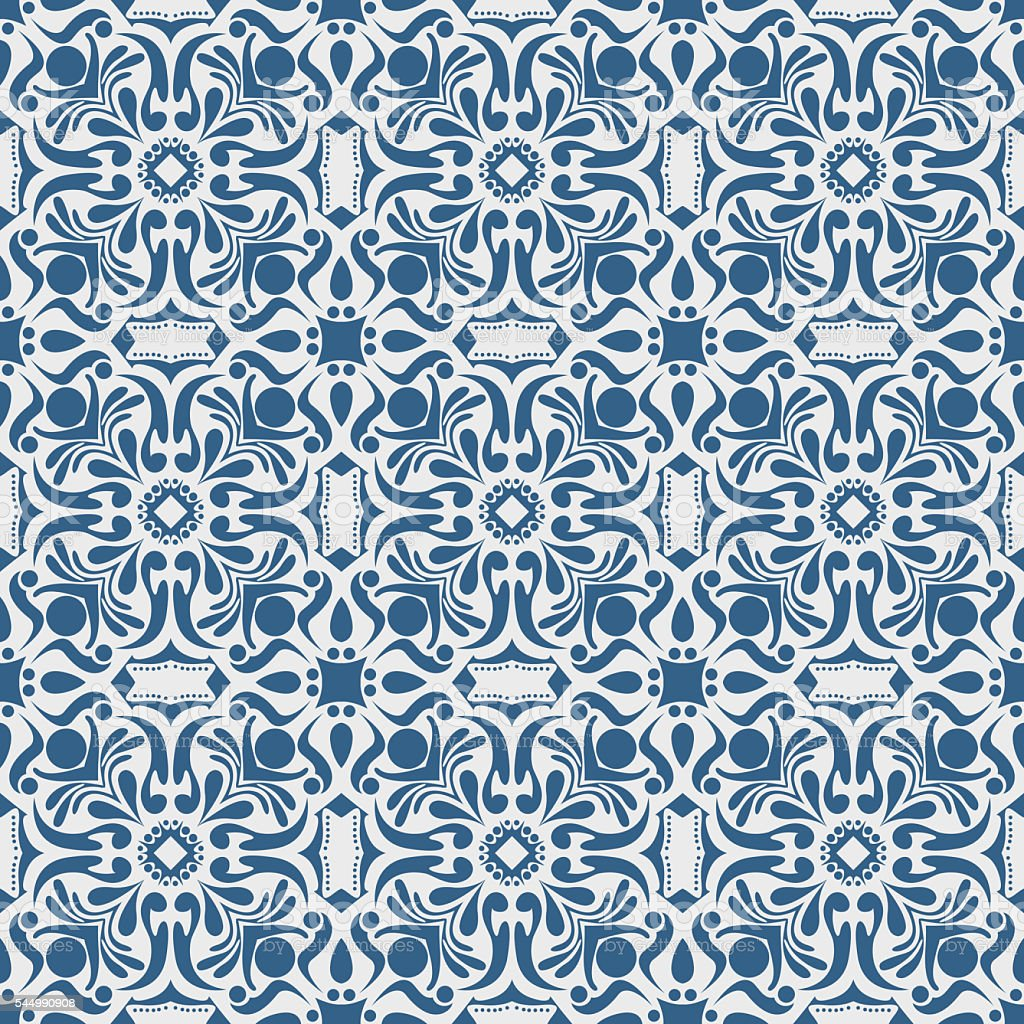 Blue vintage floral on white background pattern vector art illustration