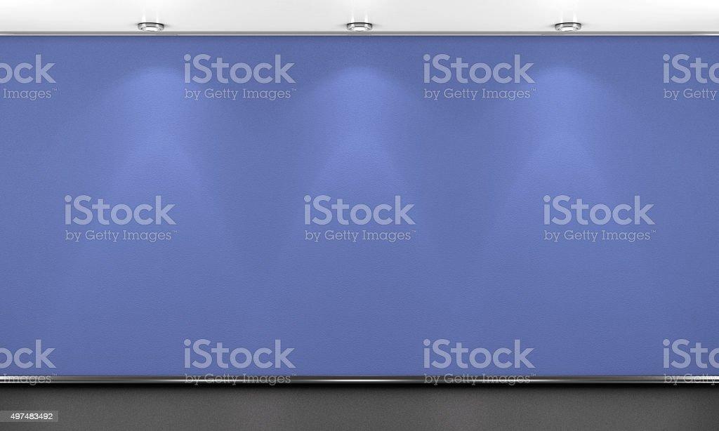 Blue wall illumination. 3d illustration. vector art illustration
