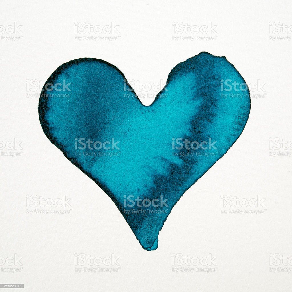blue watercolor heart TURQUOISE stock photo