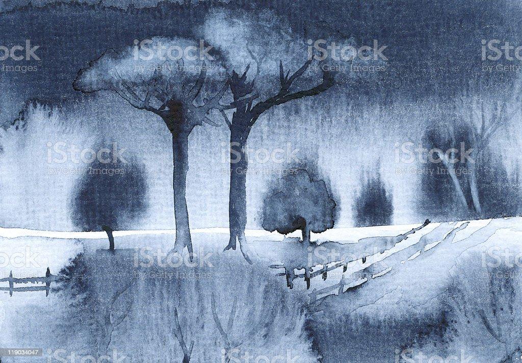 Blue waterColor Landscape vector art illustration